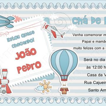convite digital chá de fraldas balão menino