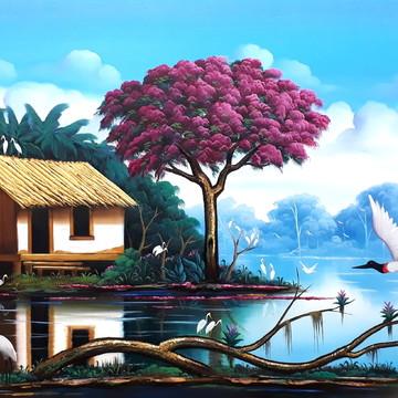 paisagem pintura em tela pantanal