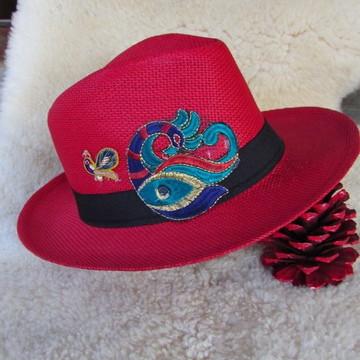 Chapéu de Palha Vermelho Estilo Boho Chic Etno Chic Unissex