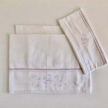 Jogo lençol bordado Ursinha Lilás