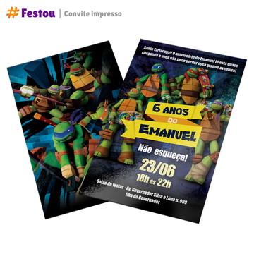 Convite impresso - Tartarugas Ninja - mín 50 uni