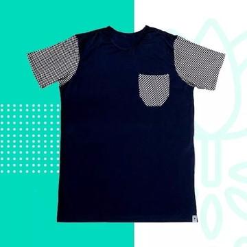 Camiseta Camisa Masculina Bolso Manga Estampada Xadrez
