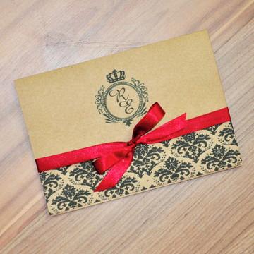 Convite de Casamento Arabesco e brasão - Rustico