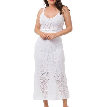 5da92705f1 Conjunto Saia Midi Cropped Tricot Branco Frete Grátis 05047