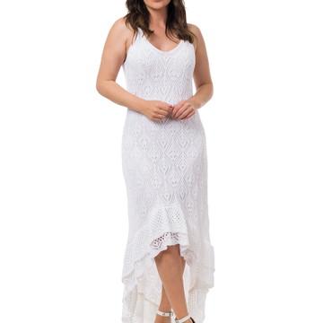 310ad23105 Vestido Longo Tricot Espanhola Feminino Branco 05052
