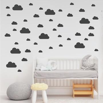Adesivo de nuvens cinza e cinza escuro