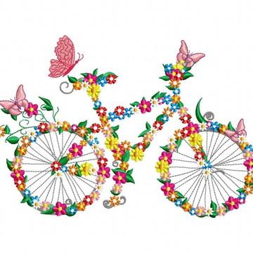 Matriz Bordado Bicicleta de Flores Agulha Feliz Matrizes
