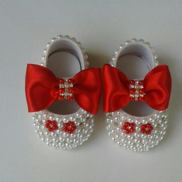 Sapato Infantil Menina Vermelho com Pérolas