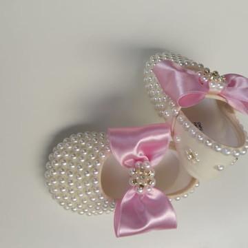 Sapato Infantil Menina Rosa com Pérolas