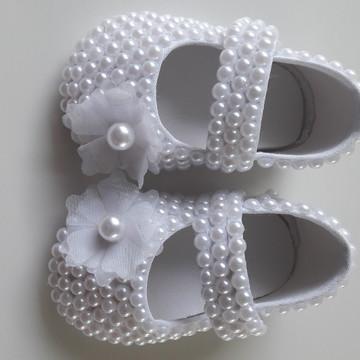 Sapato Infantil Menina Batizado com Pérolas