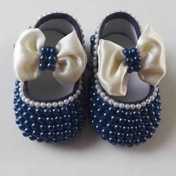Sapato Infantil Menina Marinho com Pérolas