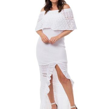 4315d0637a Vestido Longo Tricot Ombro a Ombro Fenda Branco 05056