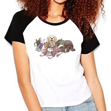 b9f2ba8c33 Camiseta Feminina Raglan Cachorrinhos Camisa Pet - Raglan