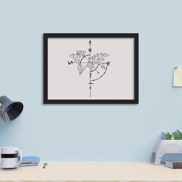Quadro Decorativo com Molduras _ Mapa Múndi