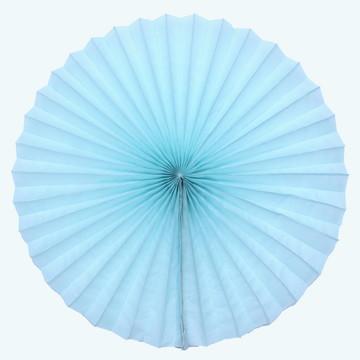 Leque d papel 40cm diametro aberto fiorata roseta Azul Claro