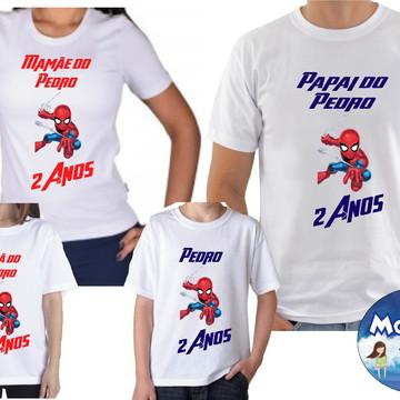 Kit Camisetas Aniversario Homem Aranha Com 4und