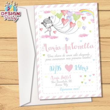 Convite + Envelope (Listras e Flores)