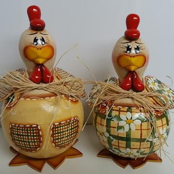 Casal de galinhas de cabaça 10