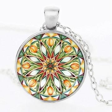 Colar Mandala Flor da Vida Verde Esmeralda Cordão Prateado