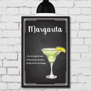 Placa Decorativa MDF Cozinha Drink Margarita 30x40cm