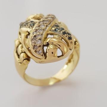 Anel de Ouro 18k com Safiras Verdes e Diamantes