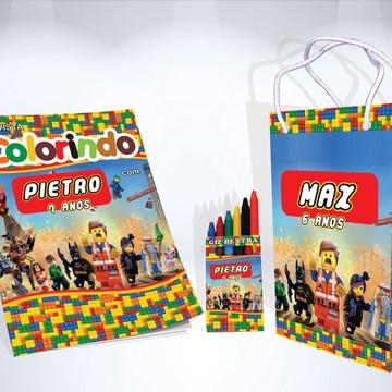 Kit de Colorir Lego Revista Sacola Giz