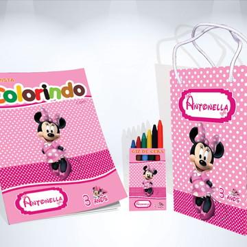Kit de Colorir Minnie Rosa Revista Sacola Giz