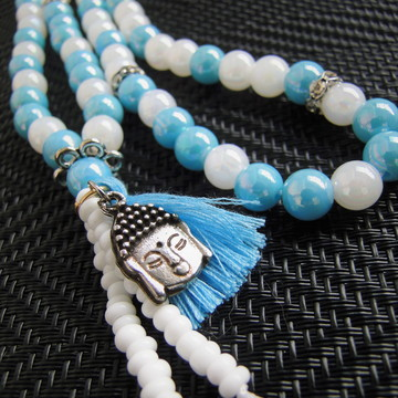 Japamala azul e branco 108 contas