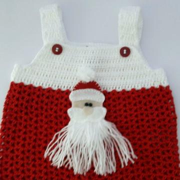 Jardineira crochê Papai Noel