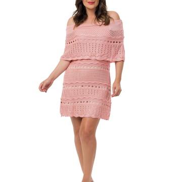 f44e1cf47e Vestido Curto Feminino Tricot Ombro a Ombro Rosa Claro 04963