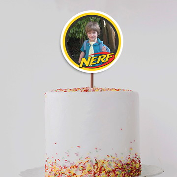 Topo de bolo/topper grande com foto – Nerf