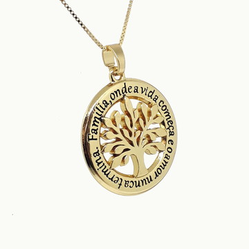 Colar Gargantilha Medalha Arvore da Vida Dourado