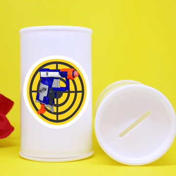 Cofrinho de plástico com adesivo – Nerf