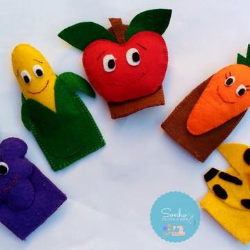 Dedoches de frutas e legumes de feltros