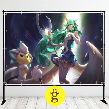 Painel de Festa Soraka Guardiã Estelar 2x1 (Personalizável)