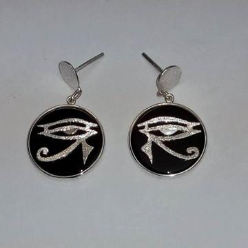 Brinco Olho de Hórus c/ágata em prata