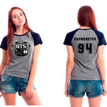 de6684e7ac Camiseta Bts Bangtan Boys Rapmonster 94 Cinza Kpop Bts