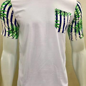 Camiseta Camisa Masculina Bolso Manga Estampada Folhas