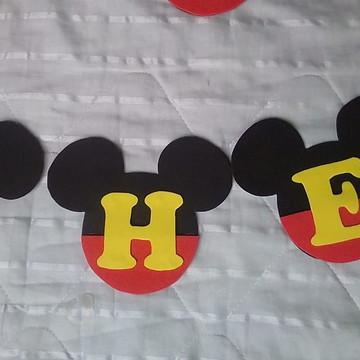 Painel de Aniversario Mickey em forma de Varal