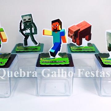 Caixinha Minecraft - Acrílica 5x5 com aplique 3D