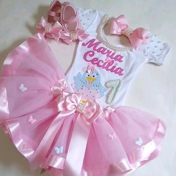 Fantasia Infantil Tutu Galinha Pintadinha Candy Colors Luxo