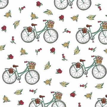 Papel de Parede Bicicleta e Flores