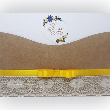 Convite de Casamento, Campo, Rústico Kraft Floral - Amarelo