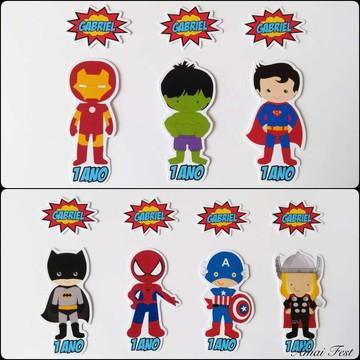 Apliques para tubetes - Super Heróis cute