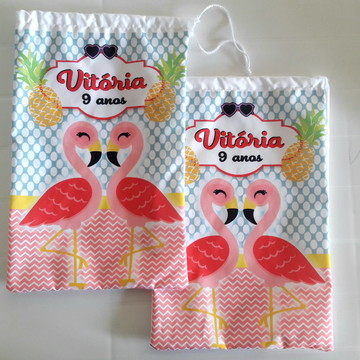 (A11) Sacolinha Flamingos personalizada