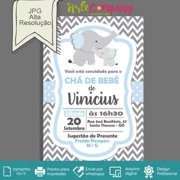 Convite Chá de Bebê Elefantinho Digital