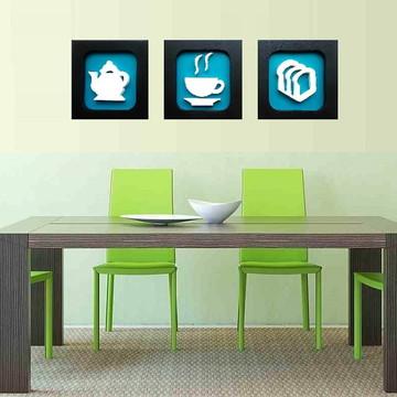 Trio de Quadros Decorativo de Cozinha 22 x 22 cm
