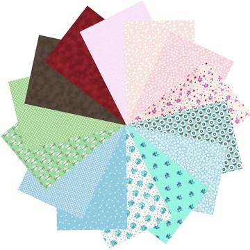 Kit Tecido 100% Algodao Patch Multicolorido 56 #14 25cmx35cm