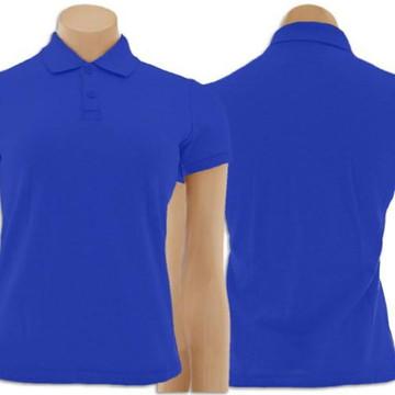 a920757bc5 Camiseta Gola Polo Feminino Azul Royal