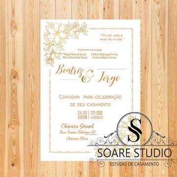 Convite de Casamento Vintage Dourado